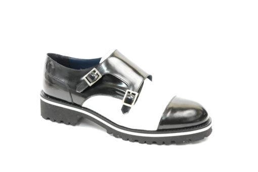 Scarpa donna sportiva in vitello bicolore black and white (2)