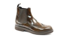 Ankle boots in brushed calf with vibram gumlite sole,brown and black.handmade shoes JAMES BENSON milano online