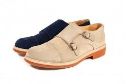 Scarpe da uomo con doppia fibbia in camoscio e suola cuoio più gomma color mattone.Prodotto artigianale su www.lucacalzature (2)