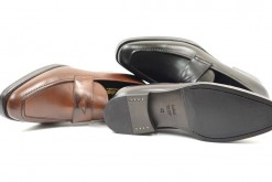 Mocassin in leather with leather sole,upper in calf   handmade shoes italy leather -