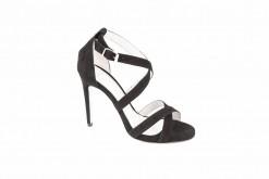 Sandali eleganti da donna in camoscio con tacco alto 12 cm.Shoponline Lucacalzature