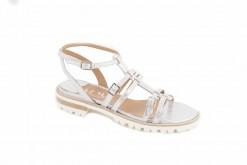 Sandali sportivi con tacco basso in laminato argento e laminato oro,suola gomma leggera.Modello esclusivo luca
