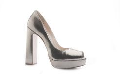 Open toe in laminato bronzo con tacco alto e platea Lucacalzature.