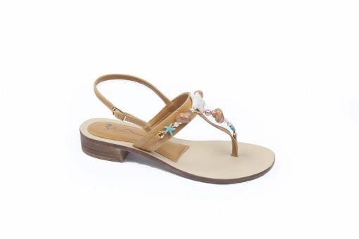 Sandali bassi in pelle con pietre,tipo Positano, scegli i tuoi flat sandals preferiti.