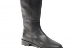 Stivali da donna in pelle nera con tacco basso e zip interna,scopri i saldi invernali 2018!