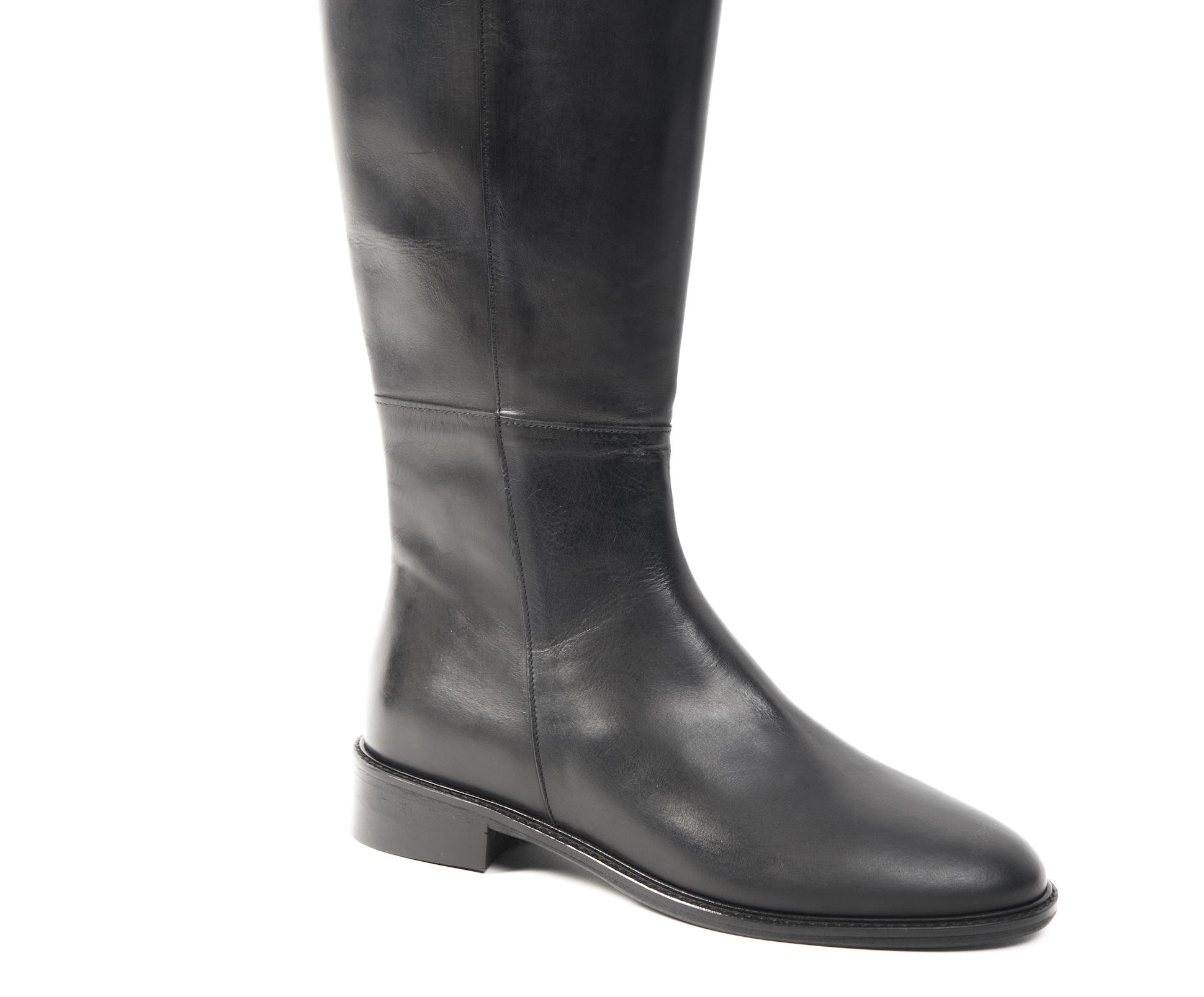 Stivali in pelle mujer tacco basso interno foderato cerniera -numeri 35 da 35 -numeri a 40 3d81ed