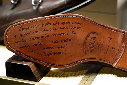 messaggio sulla suola luca calzature