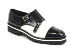 scarpa sportiva doppia fibbia in virtello spazzolato