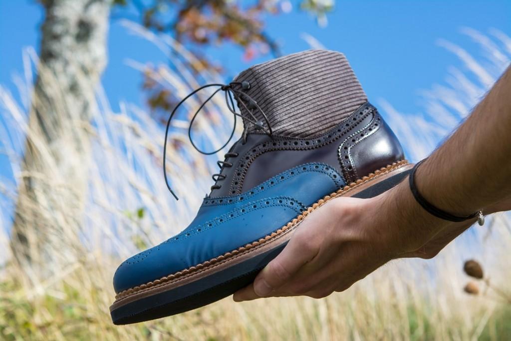 Scarponcino uomo classico sportivo Franceschetti shoes in pelle con fond cuoio e gomma,made in italy,scarpe leggere e comode.