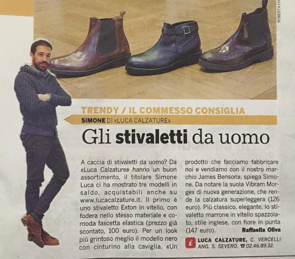 Articolo Corriere della sera sugli stivaletti in saldo Lucacalzature milano.