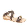 Sandalo donna con tacco basso e gioiello,tomaia in vera pelle e fondo cuoio cucito.Sandalo positano.