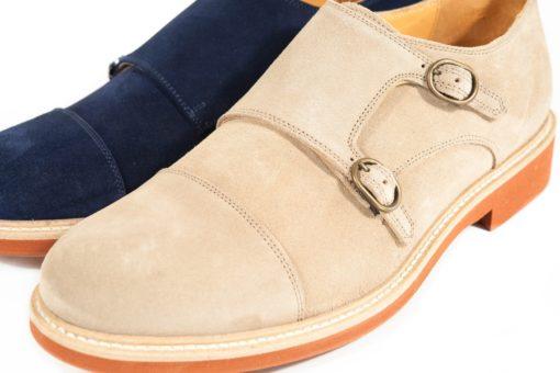 Scarpe da uomo con doppia fibbia in camoscio e suola cuoio più gomma color mattone.Prodotto artigianale su www.lucacalzature (1)