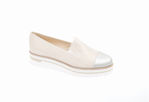 Slipon in tessuto a righe foderata di pelle,sceopri le slip-on da donna.