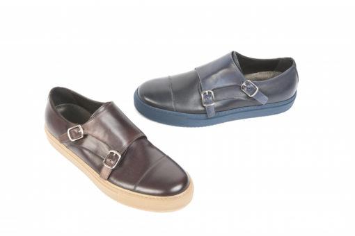 Modello classico doppia fibbia da uomo, calzature sportive artigianali.