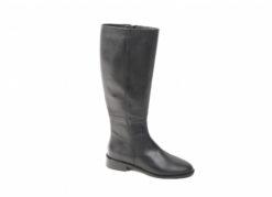 Stivali da donna in pelle nera con tacco basso e zip interna,scopri i saldi invernali 2018.